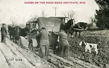 5A501 PC 1915 ' JOY RIDE ' CAR STUCK IN THE MUD SCENE INSTITUTE DOOR DOUNTY WI