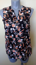 Ladies Womens Sleeveless Button Up Shirt Floral Print Blouse Top Rockmans Size18