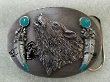 Howling Singing Pathfinder Wolf with Feathers Belt Buckle Native American #O-8