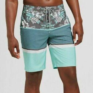 NEW Goodfellow Blue Green Tropical Swim Trunks Board Shorts Size 44