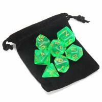 7 Pieces Acrylic Polyhedral Set Cloud Drop Translucent Teal RPG DnD + Dice Bag