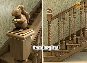 Carved newel post cap Squirrel