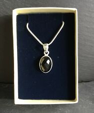 "Black Onyx Faceted Pendant Silver 925 Gift Boxed With 18"" Chain Necklace"