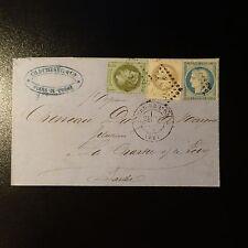 NAPOLÉON N°25 N°27 + CÉRÈS N°37 LETTRE TRICOLORE COVER GC 1520 FLERS DE L'ORNE