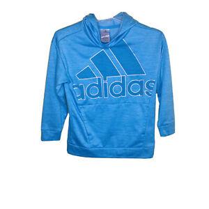 Adidas Logo Hoodie Pullover Sweatshirt Long Sleeve Teal Blue Youth Med 10/12