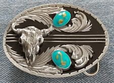 BUFFALO SKULL WAVY TURQUOISE GOLD COLOR DESIGN BELT BUCKLE PEWTER SISKIYOU NEW