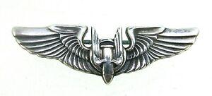 """WW2 US AAF Army Air Forces Aerial Gunners Badge Sterling Silver Wings 1.5"""""""