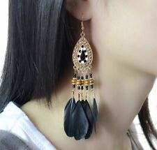 Earring Boho Festival Party Tribal Dream Catcher Feather Black Tassel Fashion