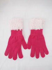 Ladies Pink Knit Gloves W/Handmade Lt. Pink Shades Mix Knitted Cuff-One Size