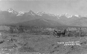 H65/ Howard Colorado RPPC Postcard c1916 Twin Sisters Mountains Buggy 61