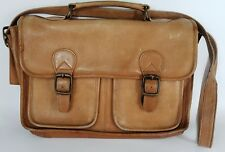 Vintage Messenger Bag Soft Tan Leather Distressed Worn Light Brown Shoulder