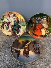 3 Porcelain Trimmed in 22k Gold Christmas Plate Avon 1987/88/94