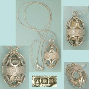 Vintage English Sterling Silver Thimble Case Necklace * Hallmarked 1996
