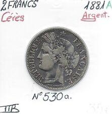 2 FRANCS CERES - 1881 A - Pièce de Monnaie en Argent // Qualité: TTB