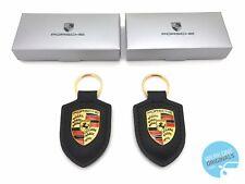 Porsche Crest Key Ring Key Fob Black Set of 2