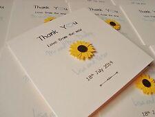 Set of 10 Personalised Sunflower Wedding Thank You Cards