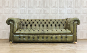 SUPERB Green Leather Chesterfield Sofa - Fully Buttoned Antique *£88 DELIVERY*
