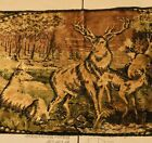 Vintage Deer Stag Buck Art Tapestry Wall Rug Picture *Some Condition Issues*