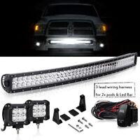 """For Dodge Ram 03-17 2500/3500 Hidden Bumper 240W LED Light Bar+2x 4"""" Pods+Wiring"""