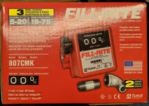 """Fill-Rite 3-Wheel Mechanical 3/4"""" in 3/4"""" Out Meter 5 - 20 GPM 50 PSI 807CMK New"""