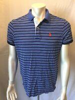 US POLO ASSN. Men's Large Slim Fit Blue Striped Short Sleeve Pique Polo Shirt