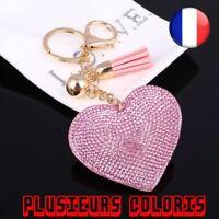Porte Clé Romantique Coeur Bijoux Femme Chaine Anneau Sac Pendentif Strass Mode