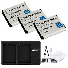 3X EN-EL19 Replacement Battery and USB Dual Charger for Nikon S3300 S4200 S4300