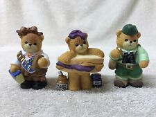 Lot of (3) Enesco Lucy and Me Vintage Ceramic Bears (Girl Scout , Pbj, Hiker)