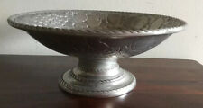 Stunning  Silver Tone Metal Footed Fruit  Bowl