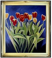 Framed Yellow and Red Tulips, Quality Hand Painted Oil Painting, 20x24in