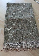 Vintage Donegal Tweed Handwoven Wool Shawl Wrap Ruana Earth Tones Ireland