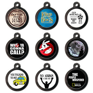 PERSONALISED PET TAGS - Movie TV Film - Dog Cat ID Tag -Engraved FREE-Metal Disc