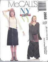 UNCUT Vintage McCalls Sewing Pattern Girls Junior Teen Top Skirt Apron 2868 9-14