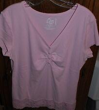 EUC XL Fashion Bug Perfect Fit Pink SS Top Lace at Hem