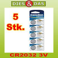 5 pièces Camelion CR2032 Lithium, 3V
