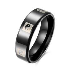 Man Jewelry Titanium Steel 6mm Yin Yang Tai Chi Band Ring Fashion Gift Size 7-10