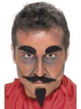 Adult Devil Set Facial Hair Black Halloween Fancy Dress Tash, Beard & Eyebrows
