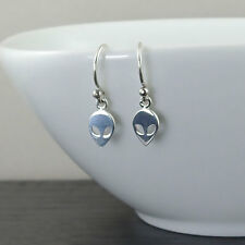 Alien Earrings - 925 sterling silver, women, fashion, hook, dangle, ufo, trendy