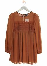 TOPSHOP TOFFEE RUST BROWN LACE PANEL 70'S BOHO SMOCK TEA DRESS *UK 10/EU 38* NEW