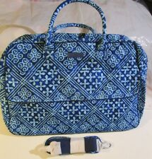 Vera Bradley Grand Traveler Luggage Travel College Cuban Tiles Blue Design Sharp