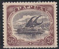 PNG942) Papua 1910-11 Lakatoi large 'Papua' watermark sideways perf 12½ 2/6d Bla