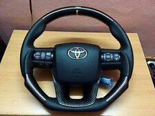 STEERING WHEEL TOYOTA HILUX FORTUNER 2015-17 GENUINE CARBON KEVLAR BLACK LEATHER