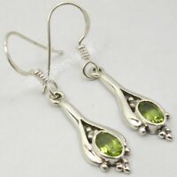 Sterling Silver Latest Style Facetted Peridot Dangle Earrings 1.4""