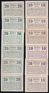 12x Österreich Austria Kirchheim: je 6x 10 + 20 Heller 8.2.1920 - Rs. Text²