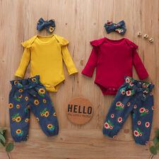3pcs Toddler Girls Outfit Headband+Romper Jumpsuit+Floral Pants Kids Clothes Set