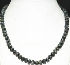 "NEW 5x8 mm faceted black gray Labradorite gemstone abacus necklace 18 ""AAA"
