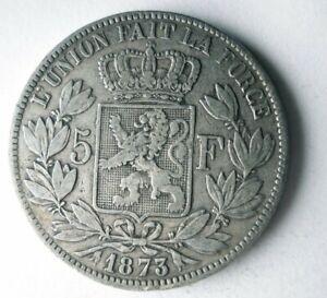 1873 BELGIUM 5 FRANCS - AU - High Value Silver Crown Coin - Lot #Y8