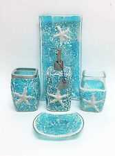 New 5 Pc Set Glass Mosaic Teal Blue Star Fish Dispenser+Dish+Tray,Tumbl er+Tooth