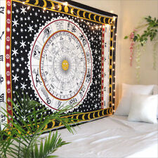 Indian Handmade Queen Size Zodiac Wall Decorative Hanging Tapestry Cotton Fabric