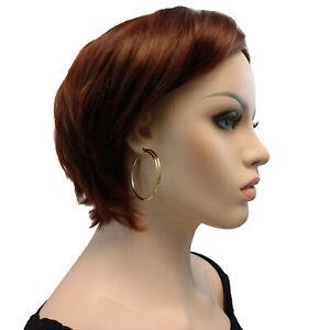 """Pierced Earrings Gold Tone Double Hoop 2"""" Surgical Steel Post"""